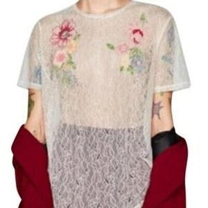 Zara Floral Embroidered Sheer Lace Top